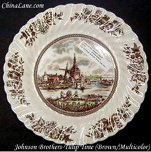 Picture of Johnson Brothers - Tulip Time ~ Brown; Multicolor; Swirl - Salad Plate