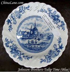 Picture of Johnson Brothers - Tulip Time ~ Blue - Oval Bowl