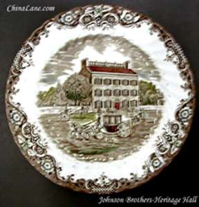 Picture of Johnson Brothers - Heritage Hall ~ Brown - Dessert Bowl