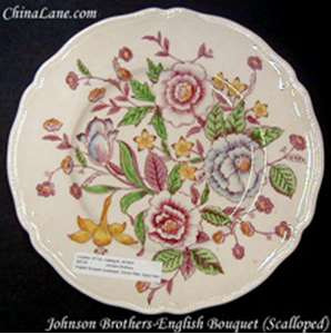 Picture of Johnson Brothers - English Bouquet ~ Scalloped - Dessert Bowl