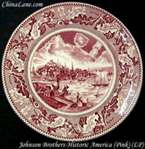 Picture of Johnson Brothers - Historic America ~ Pink - Soup Bowl