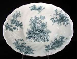 Picture of Johnson Brothers - Pastorale Toile de Jouy ~ Green - Oval Bowl