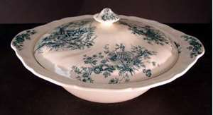 Picture of Johnson Brothers - Pastorale Toile de Jouy ~ Green - Covered Bowl