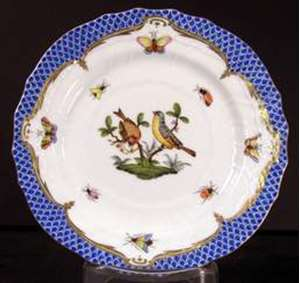 Picture of Herend - Rothschild Bird~Blue Border - Bread Plate
