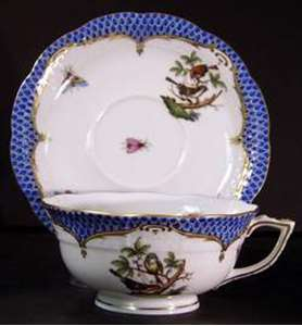 Picture of Herend - Rothschild Bird~Blue Border - Cup and Saucer