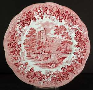 Picture of Meakin, J.G. - Romantic England~Red - Dinner Plate