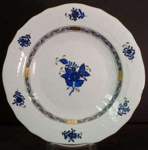Picture of Herend - Chinese Bouquet~Black and Blue - Dessert Plate