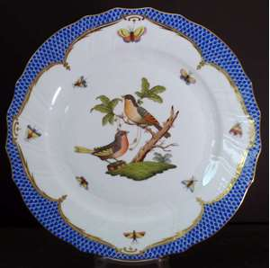 Picture of Herend - Rothschild Bird~Blue Border - Dinner Plate