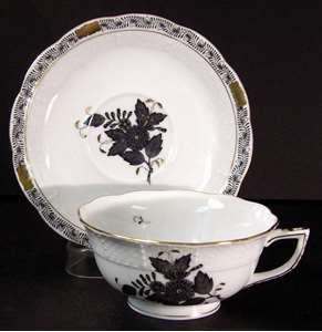 Picture of Herend - Chinese Bouquet~Black - Cup and Saucer